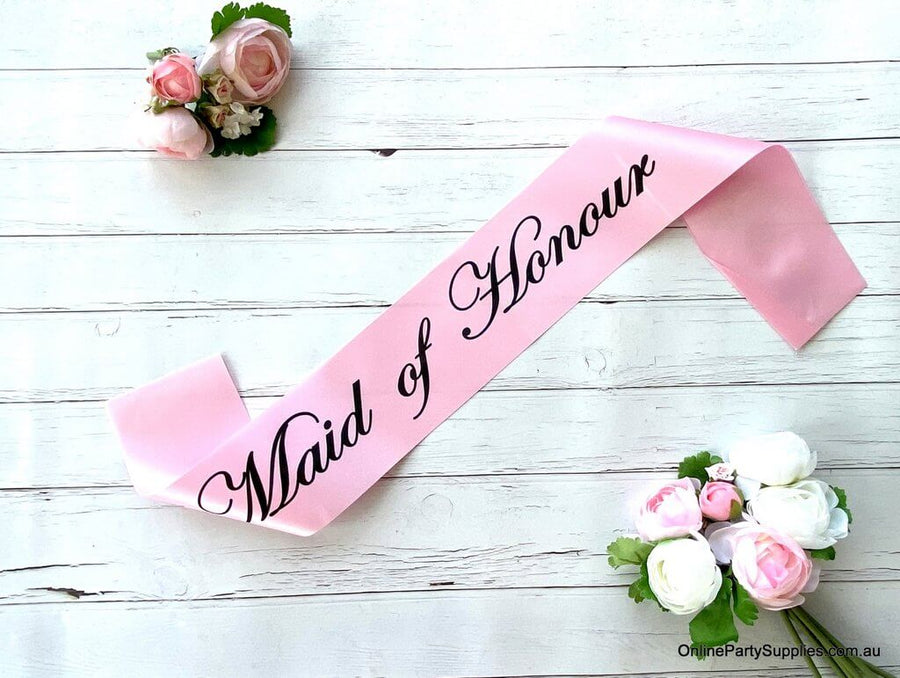 Pink 'Maid of Honour' Satin Sash - Bachelorette Party Sash