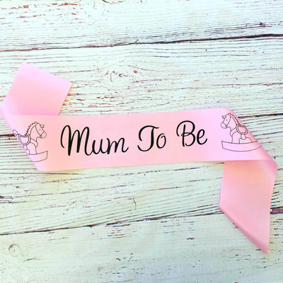 Pink Online Party Supplies Mum To Be with Rocking Horse Baby Shower Satin Sash