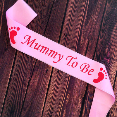Pink Online Party Supplies Mummy To Be with Footprint Baby Shower Satin Sash