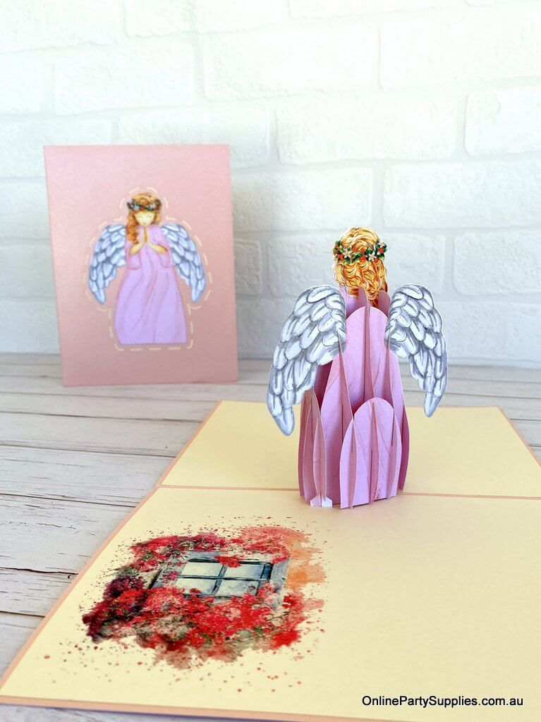 Online Party Supplies Australia Handmade Pink Praying Guardian Angel Pop Up Christmas Card For Mum