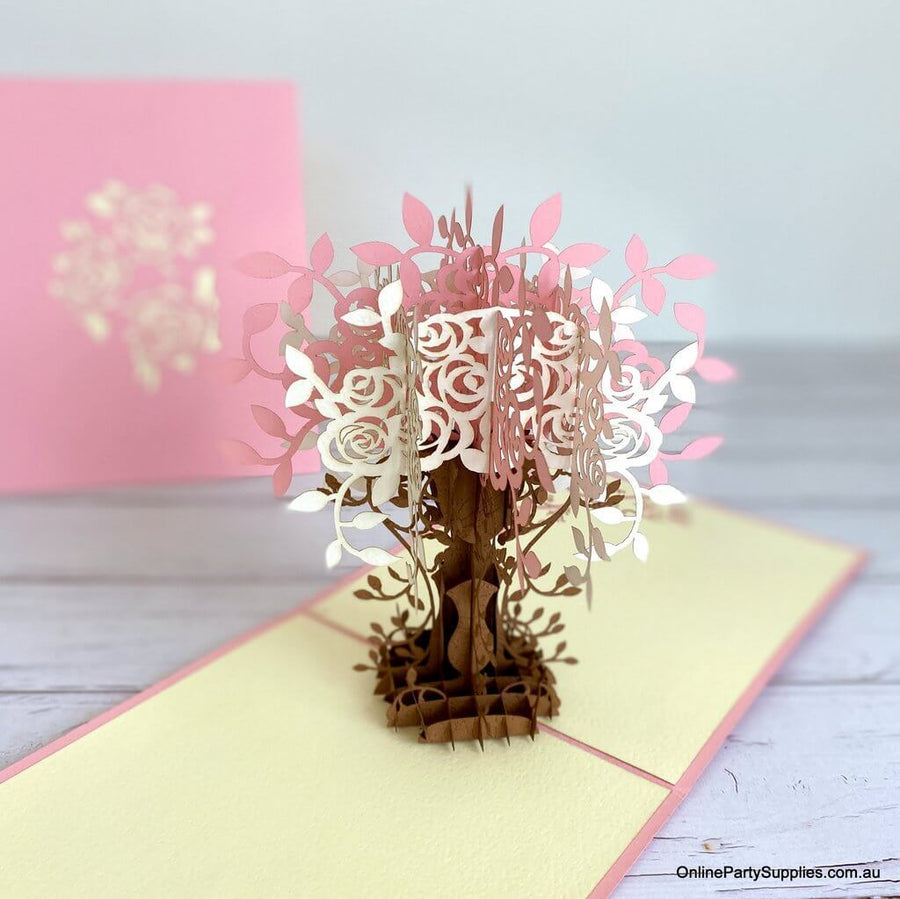 Handmade Pink and White Rose Tree Pop Up Card - 3D Floral Valentine's Day Pop Out Cards