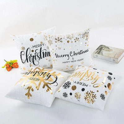 Premium Quality Bronze Printed Merry Christmas Decorative Cushion Cover - Online Party Supplies