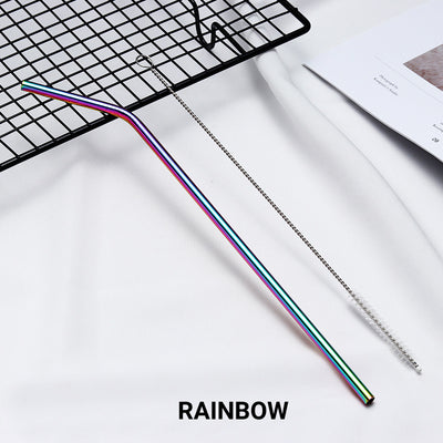 bent iridescent rainbow Stainless Steel Straw, reusable, eco-friendly metal straws 210mm x 6mm
