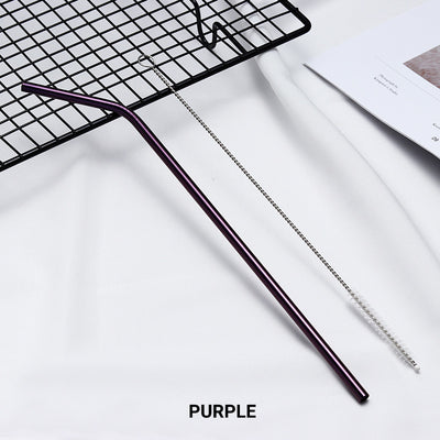 bent purple Stainless Steel Straw, reusable, eco-friendly metal straws 210mm x 6mm