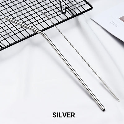 bent silver Stainless Steel Straw, reusable, eco-friendly metal straws 210mm x 6mm