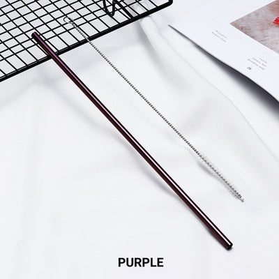 straight purple Stainless Steel Straw, reusable, eco-friendly metal straws 210mm x 6mm