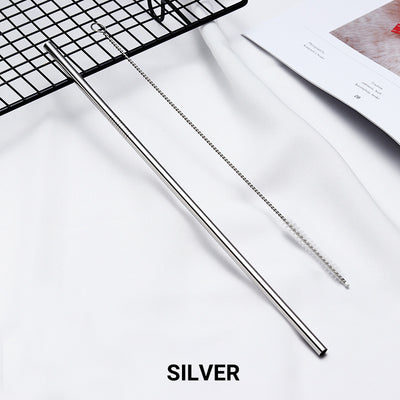straight silver Stainless Steel Straw, reusable, eco-friendly metal straws 210mm x 6mm