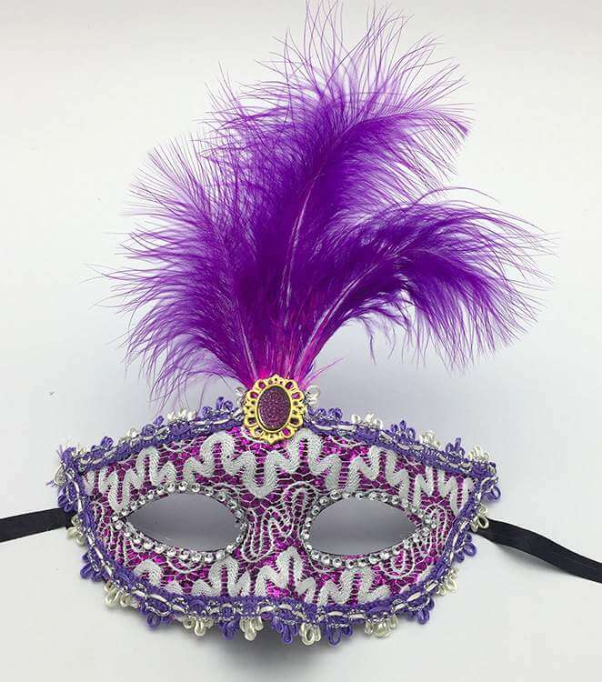 Elegant Tall Feather Lace Masquerade Mask for Women - Purple