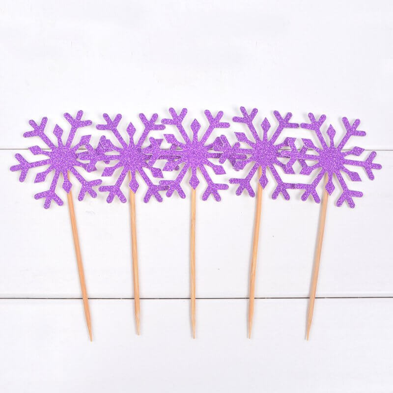 Purple Glitter Snowflake Paper Cupcake Topper 10 Pack