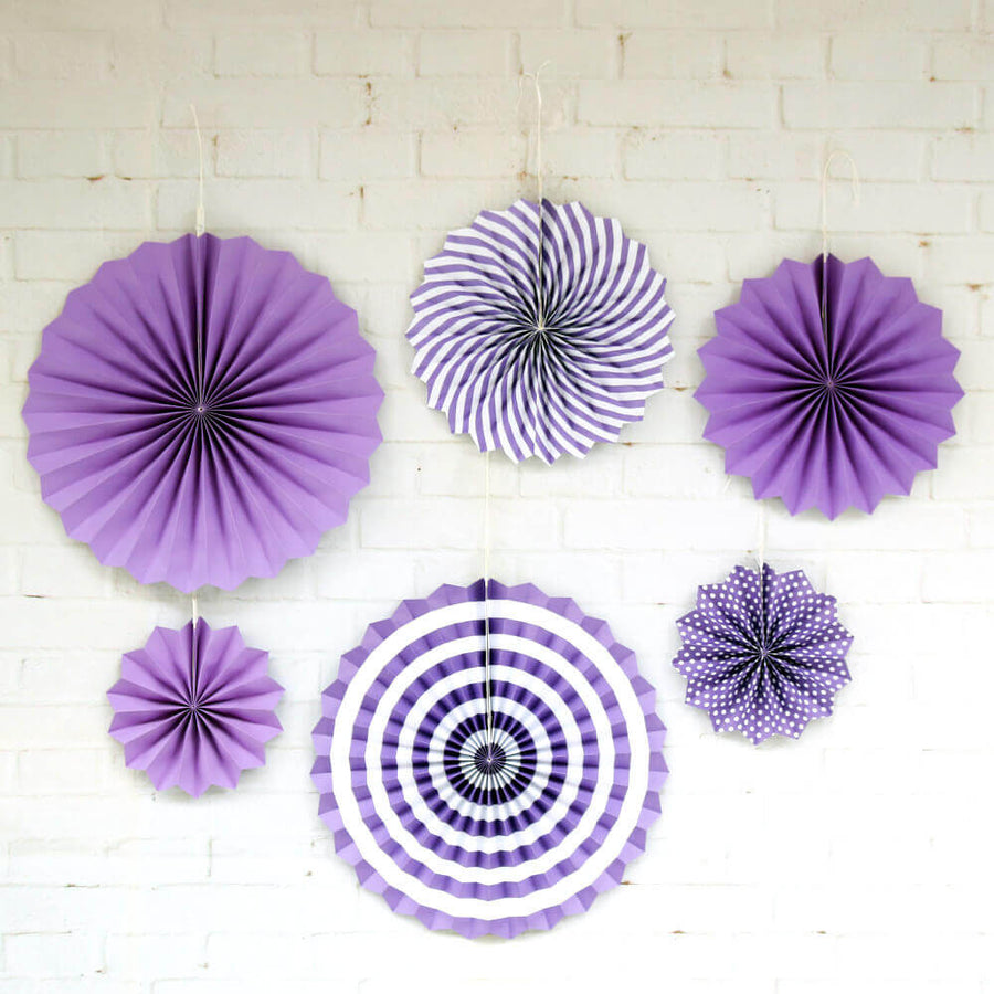 Purple Hanging Paper Fan Decorations (Set of 6)