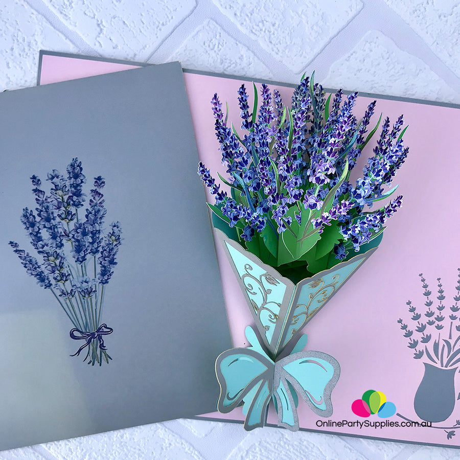 Handmade Lavender Bouquet 3D Pop Up Card - Online Party Supplies