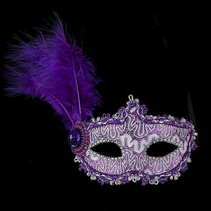 Glitter Lace Tall Feather Masquerade Mask - Purple