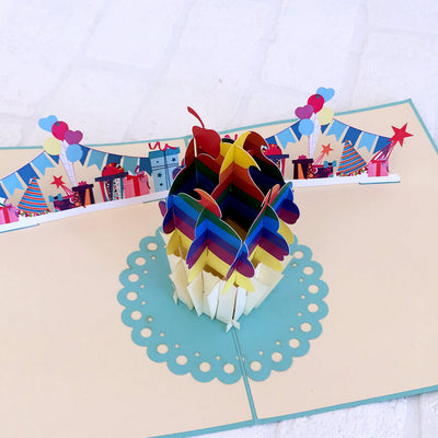 Handmade Online Party Supplies Rainbow Cupcake LGBT Pride 3D Pop Up Card