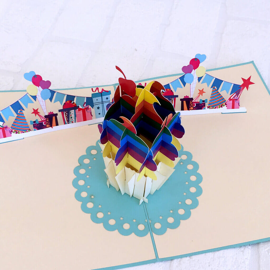 Handmade Online Party Supplies Rainbow Cupcake 3D Pop Up Birthday Card