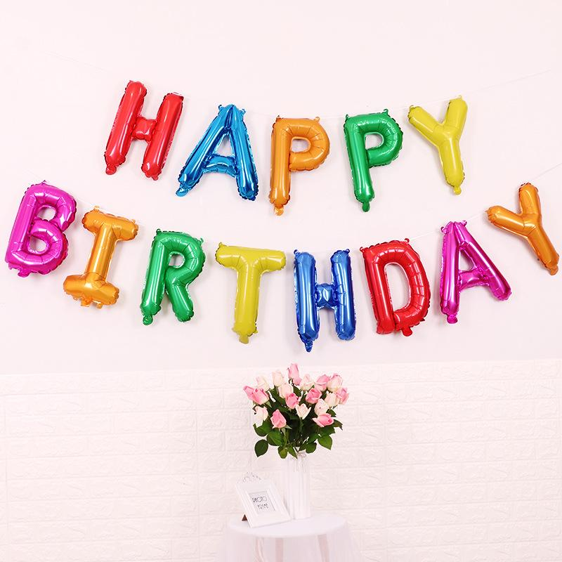 Rainbow HAPPY BIRTHDAY Foil Letter Balloon Bundle (Pack of 18 Balloons) - Online Party Supplies