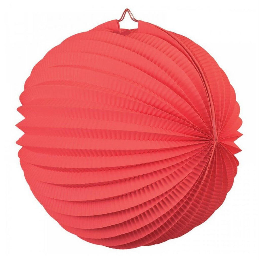 Red Accordion Paper Lantern Ball - 20cm