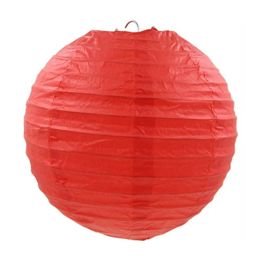 Red Round Chinese Paper Lantern - 4 Sizes (6 inches, 8 inches, 10 inches and 12 inches)