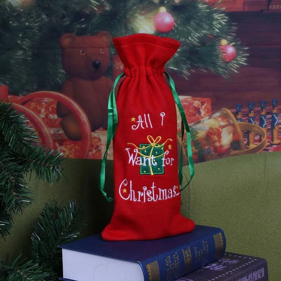 Red Christmas Belt Buckle Wine Bottle Cover - Online Party Supplies