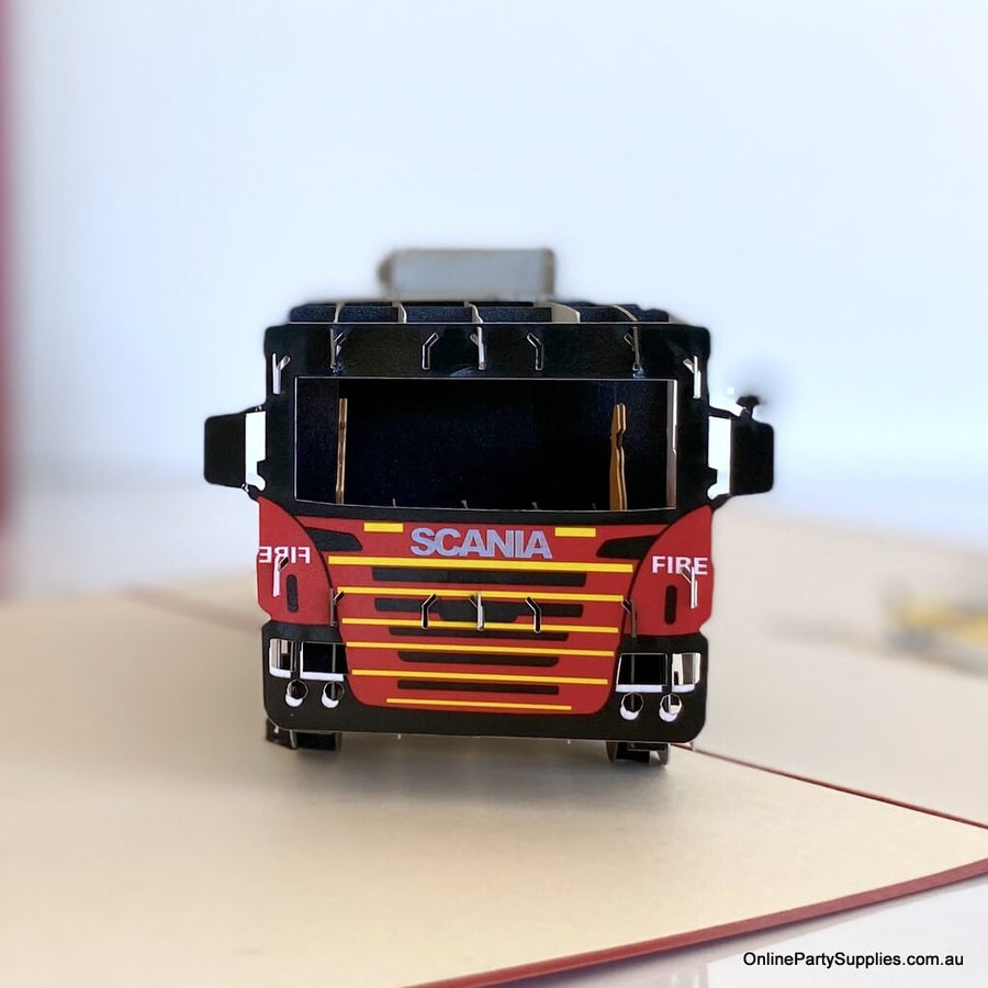 Red Fire Engine Pop Up Card