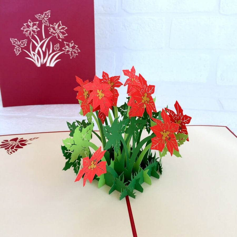 Handmade Online Party Supplies Red Flowering Poinsettia Bush 3D Pop Up Get Well Card