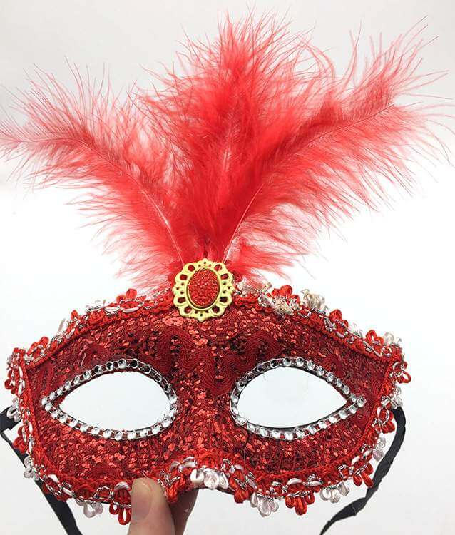 Elegant Tall Feather Lace Masquerade Mask for Women - Red