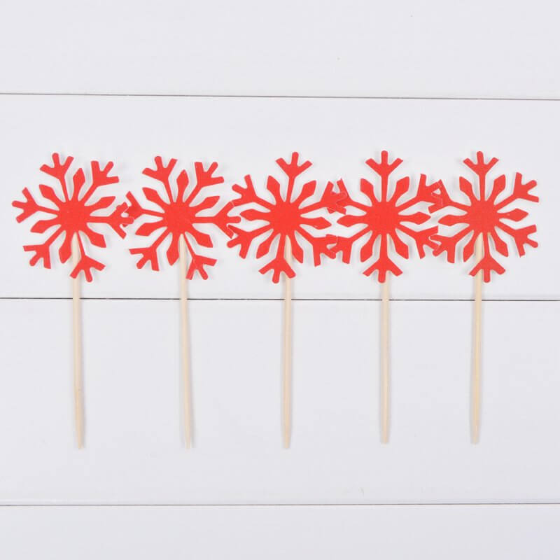 Red Glitter Snowflake Paper Cupcake Topper 10 Pack