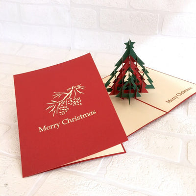Handmade Red & Green Christmas Tree Pop Up Greeting Card - 3D Pop Up Xmas Cards Cover