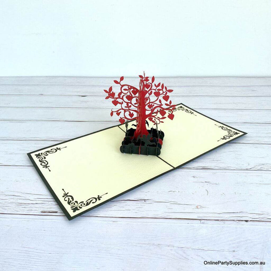 Handmade Red and Gold Tree Of Love Heart 3D Pop Up Valentine's Day Card - Black Cover