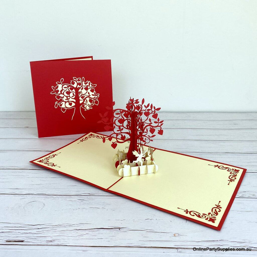 Handmade Red and Gold Tree Of Love Heart 3D Pop Up Valentine's Day Card