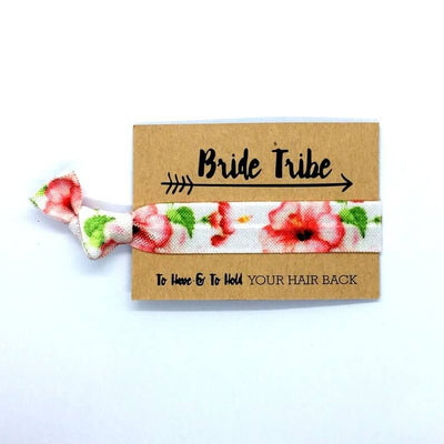 Tropical Floral Red Hibiscus Hair Tie for flower girls hen party favours bridesmaid gifts