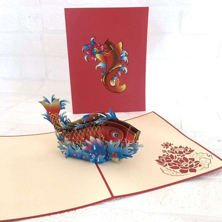 Handmade Online Party Supplies Red Japanese Koi Fish Pop Up Greeting Card