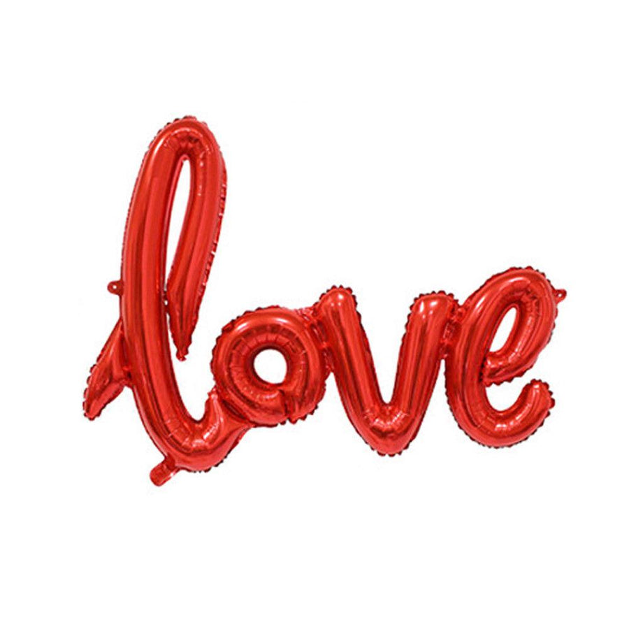 Red Love Script Foil Balloon Bundle - Online Party Supplies