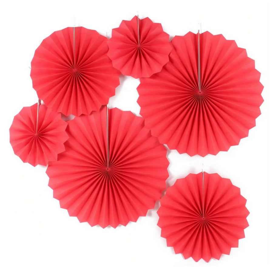 Red Hanging Paper Fan Decorations (Set of 6) - Valentine's Day, Christmas, Wedding, Chinese New Year Party Decorations