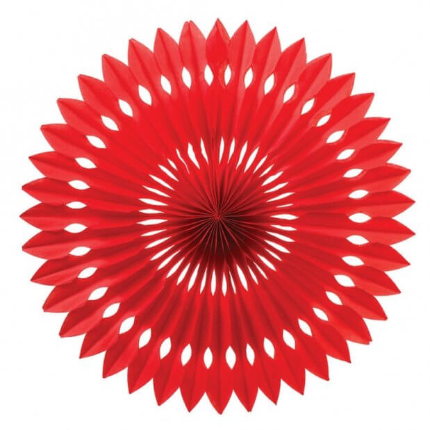 Decorative Red Round Tissue Paper Fan