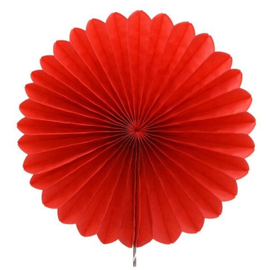 Red Tissue Paper Fan - 6 Sizes
