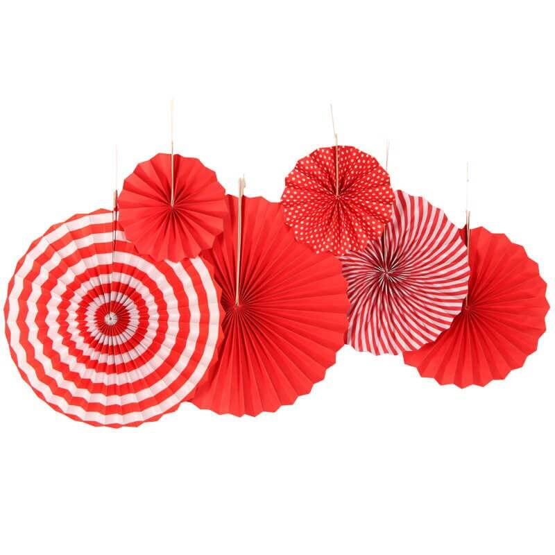 Red & White Hanging Paper Fan Decorations (Set of 6)