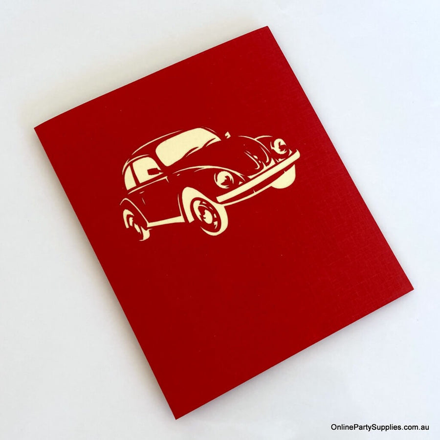 Handmade Red Vintage Car 3D Pop Up Greeting Card - Pop Up Transportation Card