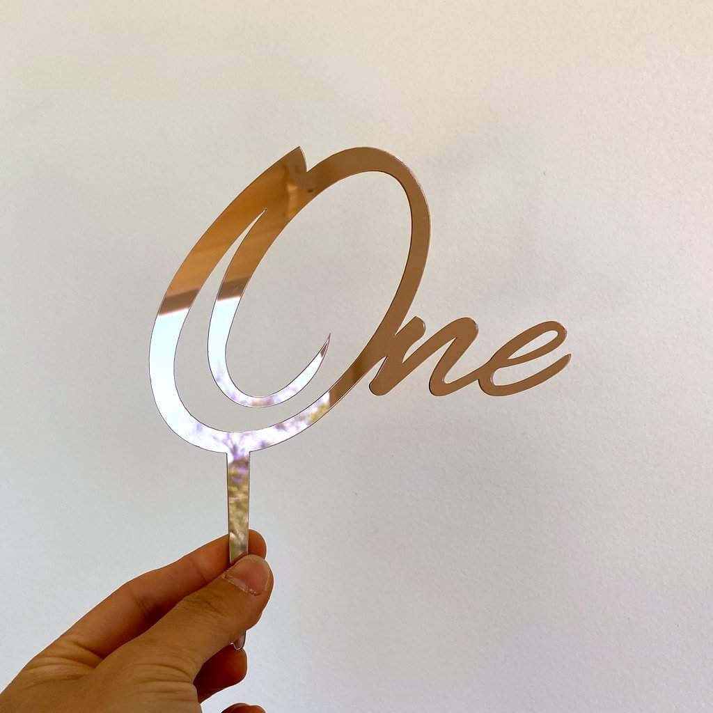 One Acrylic Rose Gold Mirror Cake Topper For First 1st Birthday