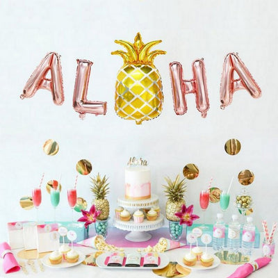 Rose Gold ALOHA With Gold Pineapple Foil Balloon Banner - Online Party Supplies