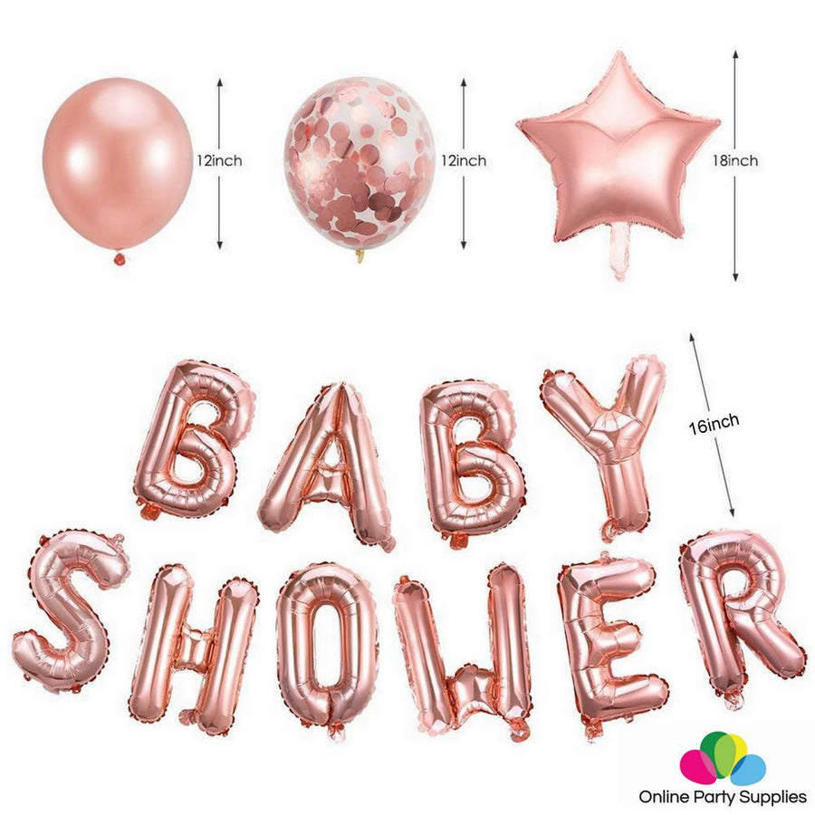 Rose Gold BABY SHOWER Foil Balloon Bouquet (Pack of 24pcs) - Online Party Supplies