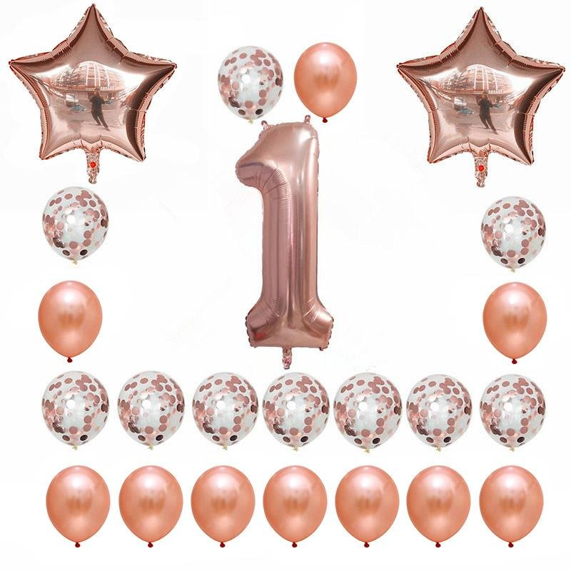 Rose Gold Birthday Number 1 Foil Balloon Bouquet (Pack of 23pcs)