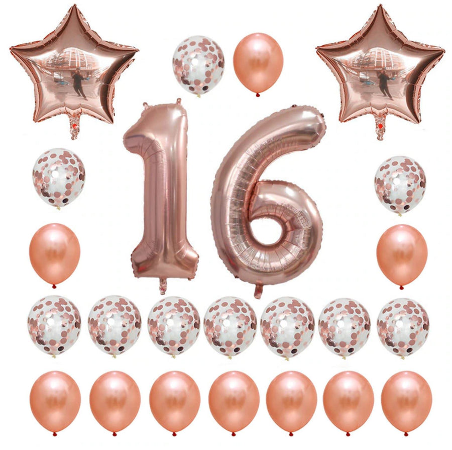 Rose Gold Birthday Number 16 Foil Balloon Bouquet (Pack of 24pcs)