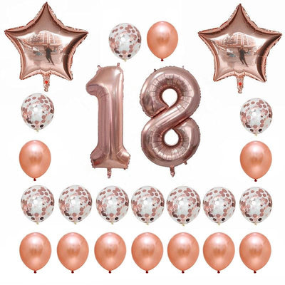 Rose Gold Birthday Number 18 Foil Balloon Bouquet (Pack of 24pcs) - Online Party Supplies