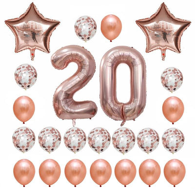 Rose Gold Birthday Number 20 Foil Balloon Bouquet (Pack of 24pcs) - Online Party Supplies