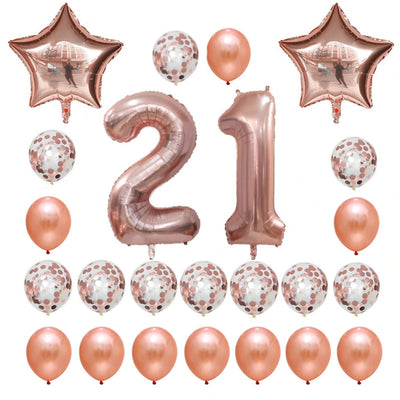 Rose Gold Birthday Number 21 Foil Balloon Bouquet (Pack of 24pcs) - Online Party Supplies