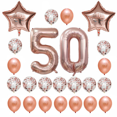 Rose Gold Birthday Number 50 Foil Balloon Bouquet (Pack of 24pcs) - Online Party Supplies