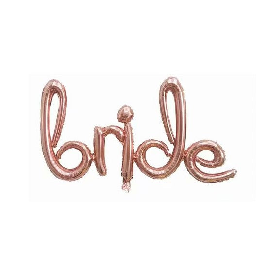 Online Party Supplies Rose Gold 'BRIDE' Script Wedding Foil Balloon Decorations