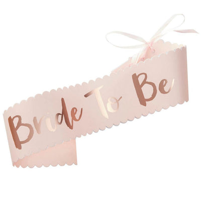 Rose Gold 'Bride To Be' Hen Party Satin Sash - Online Party Supplies