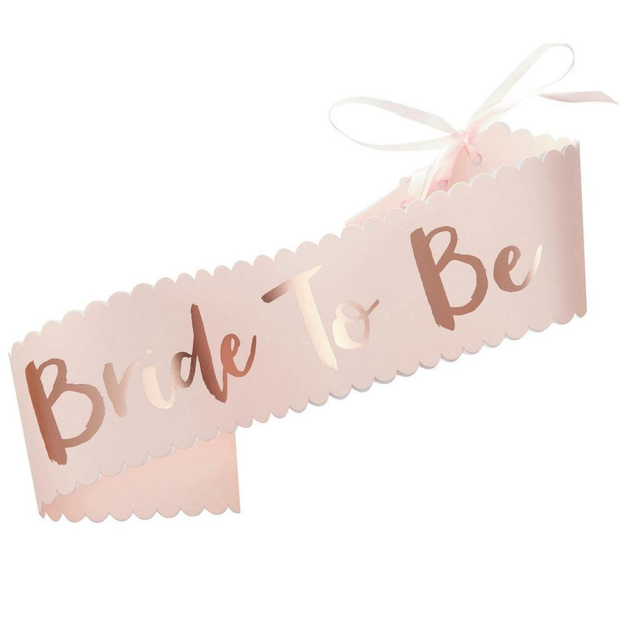 Rose Gold 'Bride To Be' Hen Party Satin Sash