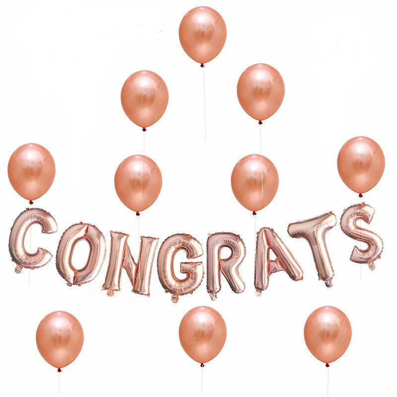 Rose Gold CONGRATS Foil Balloon Bouquet - Online Party Supplies